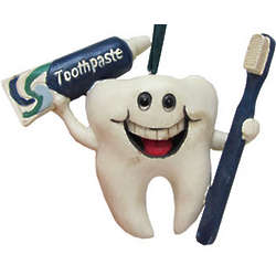 Personalized Tooth with Toothbrush Christmas Ornament