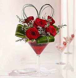 Love Potion Roses in Martini Glass