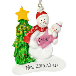 New Grandma Snowman Christmas Ornament
