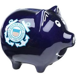 Coast Guard Hand-Painted Piggy Bank