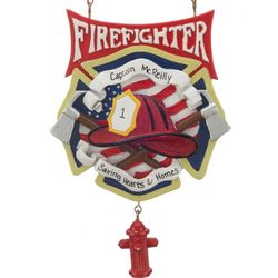 Personalized Firefighter with Fire Hydrant Christmas Ornament