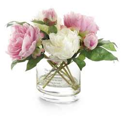 Pink and White Silk Peony Flower Arrangement