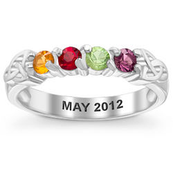 Mother's Sterling Silver 4 Birthstone Celtic Ring