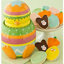Easter Chick Cookie Jar with One Dozen Buttercream Frosted Cookie