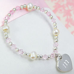 Bridesmaid's Personalized Heart Charm and Crystal Bracelet