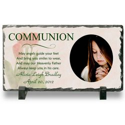 First Communion Personalized Photo Slate Plaque