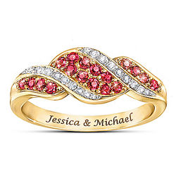 Romance Ruby and Diamond Personalized Ring
