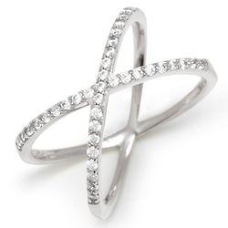 Cubic Zirconia Silver Silver Crossing X Ring