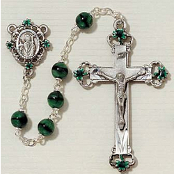 Green Glass Irish Rosary with Enameled Pewter Crucifix