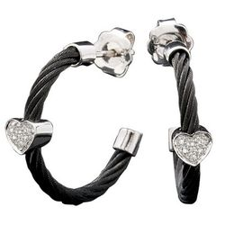 Black Stainless Steel Diamond Heart Cable Hoop Earrings