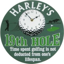 19th Hole Personalized Wall Clock
