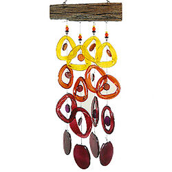 Recycled Glass Wind Chime in Tropical Sunset