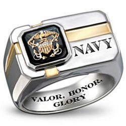U.S. Navy Men's Engraved Ring