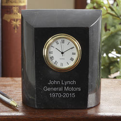 Personalized Employee Recognition Marble Desk Clock