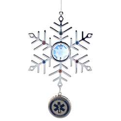 Engraved Blue Crystal and Silver EMT Snowflake Ornament