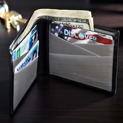 Black Leather Bifold Stainless Steel Wallet