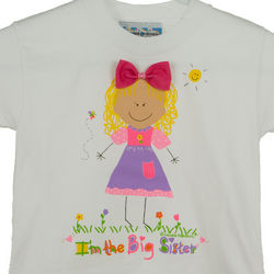 Personalized Blonde Haired Big Sister T-Shirt