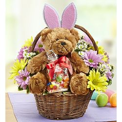 Lotsa Love Easter Floral Basket with Bear
