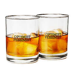 Optimist and Pessimist Double Old Fashioned Glasses