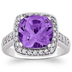Sterling Silver Large Cushion-Cut Amethyst Ring