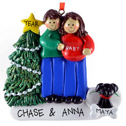 Pregnant Couple with Brown Hair and Dog Christmas Ornament