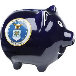 Air Force Hand-Painted Piggy Bank