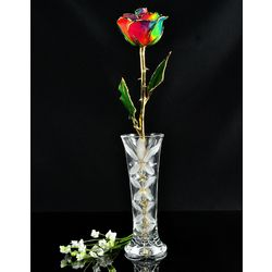 24-Karat Gold Trimmed Paradise Rose with Crystal Vase