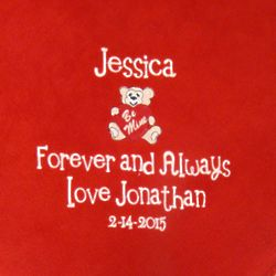 Embroidered Personalized Be Mine Bear Valentine Blanket