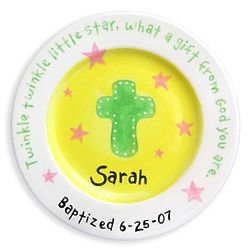 Girl's Personalized Christening Plate