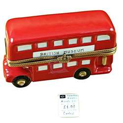 London Double Decker Bus with Removable Ticket Limoges Box