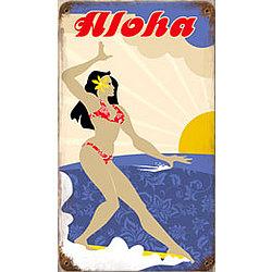 Aloha Surfer Metal Sign