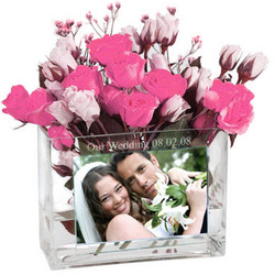 Bride and Groom Personalized Glass Photo Vase