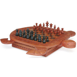 'Flowery Turtle' Wood Chess Set