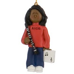 Female Ethnic Clarinet Player Personalized Christmas Ornament