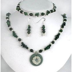 Nephrite Jade, Burma Jade and Pearls Pendant Set