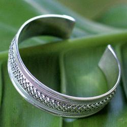 Rattan Sterling Silver Cuff Bracelet