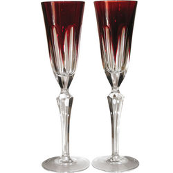 Cased Crystal Ruby Champagne Flutes