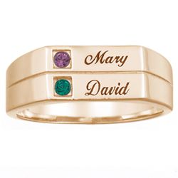 Simplicity Couples Birthstone and Name Ring in 18K Gold Plate