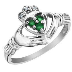 Emerald Claddagh Ring with Diamonds in 10K White Gold