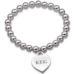 Silver-Plated Stretch Bead Bracelet with Initial Heart