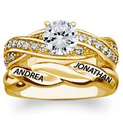 Gold Over Sterling Engraved Round Cubic Zirconia Wedding Ring Set