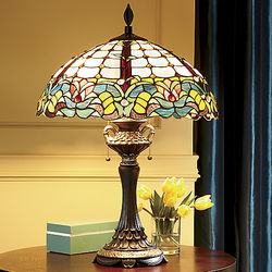 Teal Floral Design Stained Glass Lamp