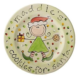 Girl's Personalized Santa's Cookies Plate