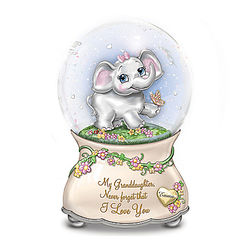 Granddaughter's Musical Glitter Globe with Name-Engraved Charm