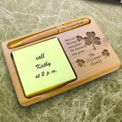 Personalized Irish Blessing Wooden Notepad & Pen Holder