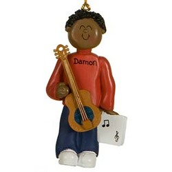 Male Ethnic Guitar Player Personalized Christmas Ornament