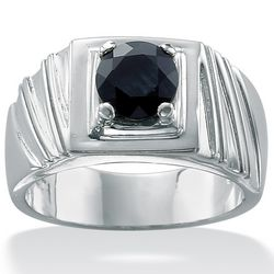 Men's Midnight Blue Sapphire Sterling Silver Ring