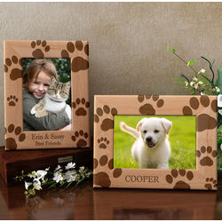 Personalized Paw Prints Wooden Picture Frame