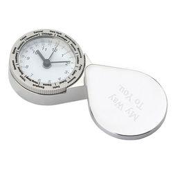 Polished Silver Engraved Travel Alarm Clock