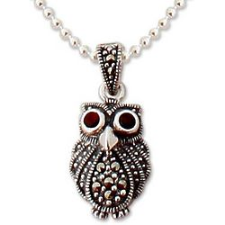 'Little Owl' Marcasite and Garnet Pendant Necklace